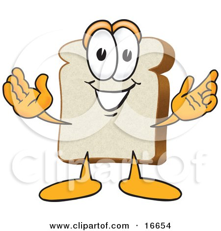 Slice of White Bread Food Mascot Cartoon Character With His Arms Open Posters, Art Prints