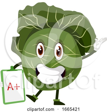 Cabbage Is Holding A Paper by Morphart Creations
