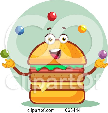 Burger Is Juggling with Colored Balls by Morphart Creations