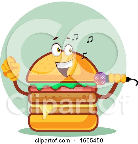 Singing Burger Is Holding a Microphone by Morphart Creations