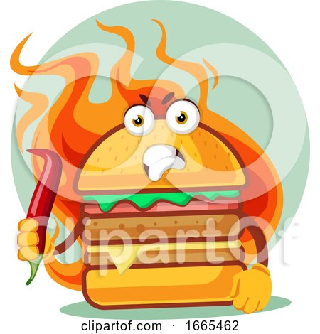 Hot Angry Burger Is Holding a Chili Pepper by Morphart Creations