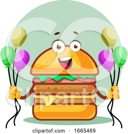 Smiling Burger Is Holding Balloons by Morphart Creations