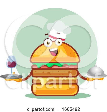 Chef Burger Is Holding a Meal and Wine Glass by Morphart Creations