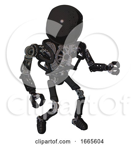 Droid Containing Round Head and Heavy Upper Chest and No Chest Plating and Ultralight Foot Exosuit. Dirty Black. Fight or Defense Pose.. by Leo Blanchette