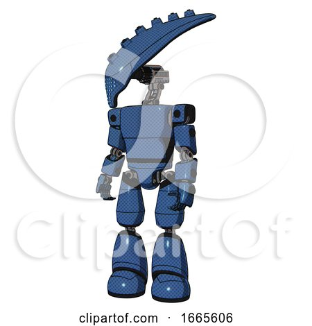 Droid Containing Flat Elongated Skull Head and Light Chest Exoshielding and Prototype Exoplate Chest and Light Leg Exoshielding. Blue Halftone. Standing Looking Right Restful Pose. by Leo Blanchette