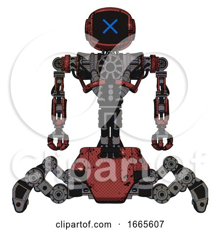 Automaton Containing Digital Display Head and X Face and Heavy Upper Chest and No Chest Plating and Insect Walker Legs. Grunge Matted Orange. Front View. by Leo Blanchette