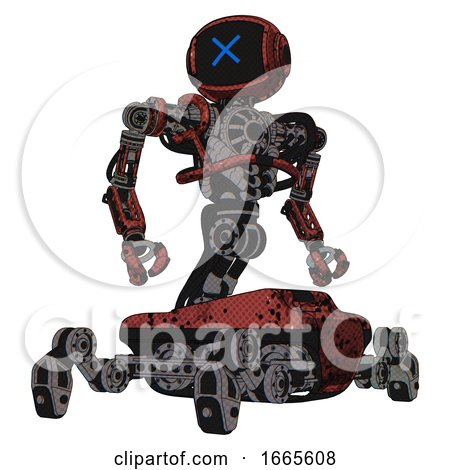 Automaton Containing Digital Display Head and X Face and Heavy Upper Chest and No Chest Plating and Insect Walker Legs. Grunge Matted Orange. Hero Pose. by Leo Blanchette