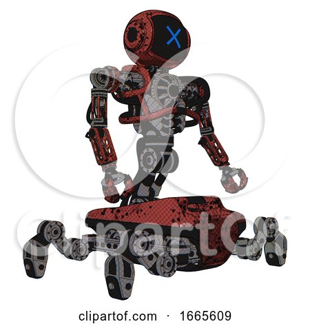 Automaton Containing Digital Display Head and X Face and Heavy Upper Chest and No Chest Plating and Insect Walker Legs. Grunge Matted Orange. Facing Left View. by Leo Blanchette