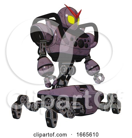 Mech Containing Grey Alien Style Head and Yellow Eyes and Heavy Upper Chest and Chest Compound Eyes and Insect Walker Legs. Lilac Metal. Facing Left View. by Leo Blanchette