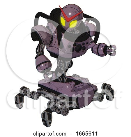 Mech Containing Grey Alien Style Head and Yellow Eyes and Heavy Upper Chest and Chest Compound Eyes and Insect Walker Legs. Lilac Metal. Fight or Defense Pose.. by Leo Blanchette