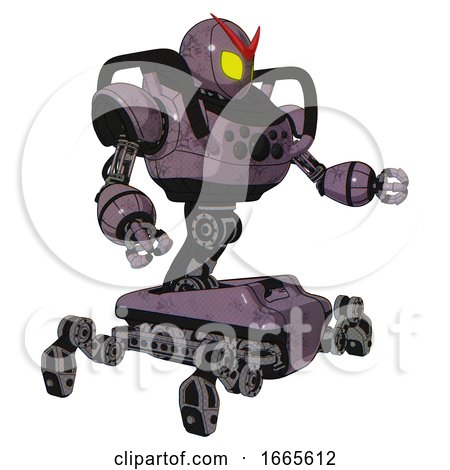 Mech Containing Grey Alien Style Head and Yellow Eyes and Heavy Upper Chest and Chest Compound Eyes and Insect Walker Legs. Lilac Metal. Interacting. by Leo Blanchette
