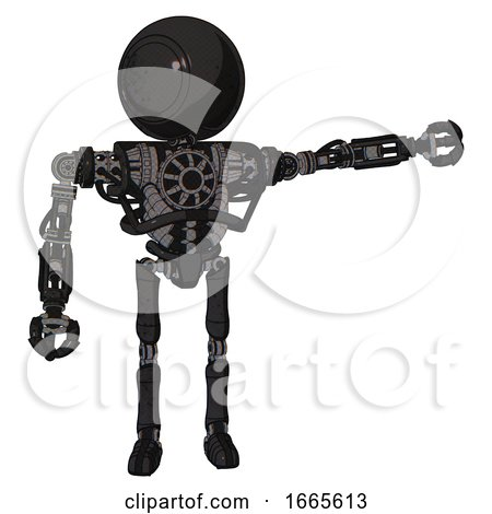Droid Containing Round Head and Heavy Upper Chest and No Chest Plating and Ultralight Foot Exosuit. Dirty Black. Pointing Left or Pushing a Button.. by Leo Blanchette