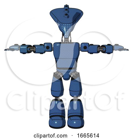 Droid Containing Flat Elongated Skull Head and Light Chest Exoshielding and Prototype Exoplate Chest and Light Leg Exoshielding. Blue Halftone. T-pose. by Leo Blanchette