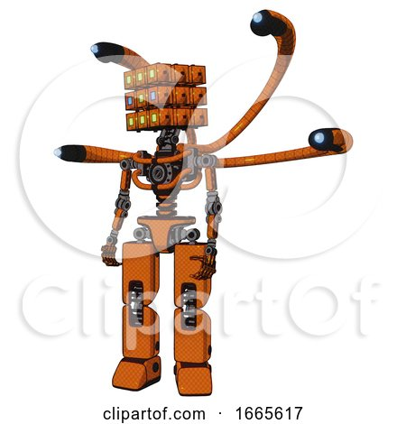 Automaton Containing Dual Retro Camera Head and Cube Array Head and Light Chest Exoshielding and Blue-eye Cam Cable Tentacles and No Chest Plating and Prototype Exoplate Legs. by Leo Blanchette