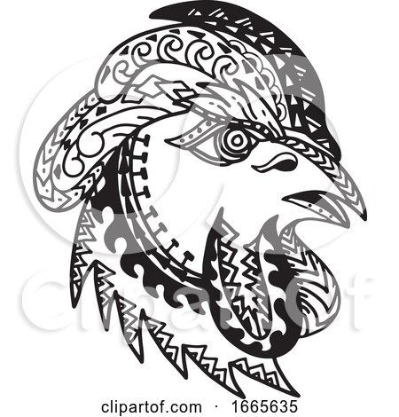 Rooster Head Tribal Tattoo Style Posters, Art Prints
