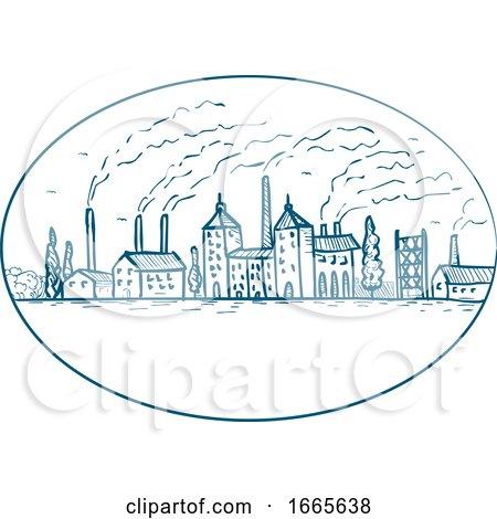Industrial Revolution Landscape Drawing by patrimonio
