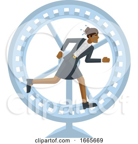 Business Woman Hamster Wheel Stress Concept by AtStockIllustration