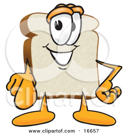 Clipart Picture of a Slice of White Bread Food Mascot Cartoon Character Pointing Outwards at the Viewer by Toons4Biz