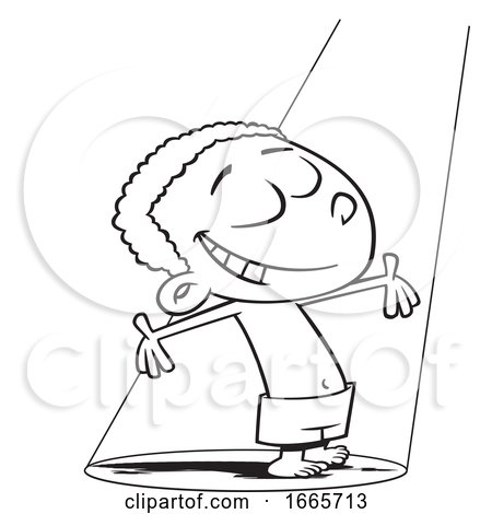 Cartoon Black and White Happy Boy Standing in a Beam of Light by toonaday