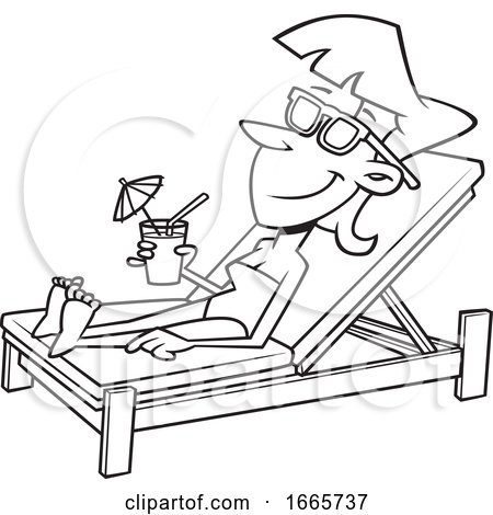 Cartoon Black and White Woman Sun Bathing Poolside with a Cocktail by toonaday