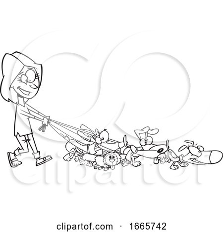 Cartoon Black and White Female Dog Walker by toonaday