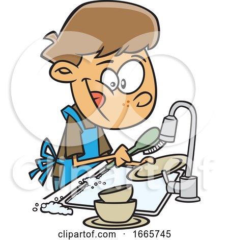 Cartoon Boy Washing Dishes by toonaday