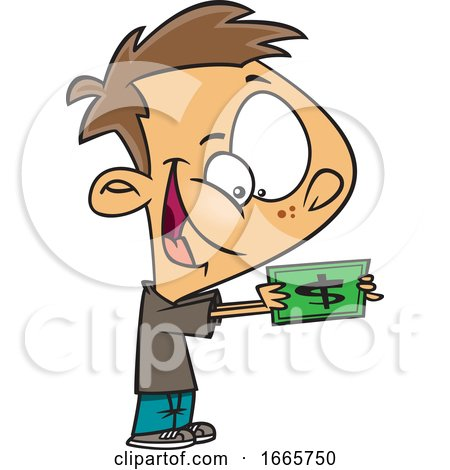 Cartoon Excited Boy Holding Cash by toonaday