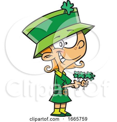 Cartoon St Patricks Day Leprechaun Girl Holding Shamrocks by toonaday