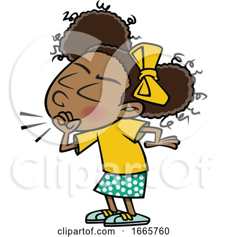 Cartoon Girl Coughing by toonaday