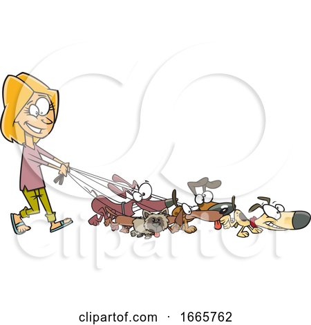 Cartoon Female Dog Walker by toonaday