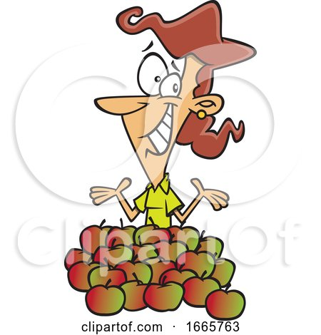 Cartoon Female Teacher Being Shown Appreciation with Apples by toonaday