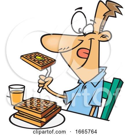 Cartoon Happy Man Eating Waffles for Breakfast by toonaday