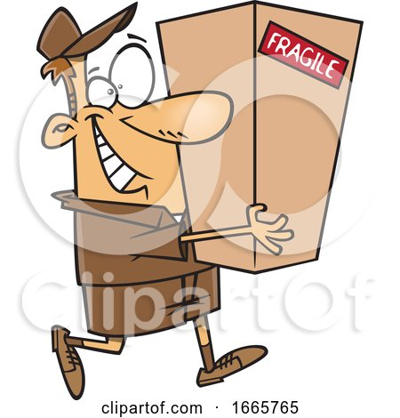 Cartoon Delivery Man Carrying a Package by toonaday