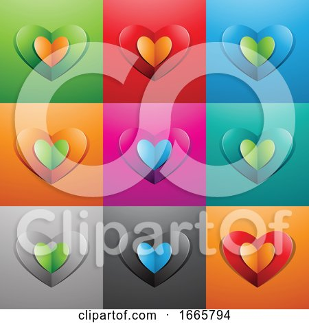 Paper Heart Icons Posters, Art Prints