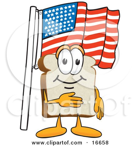 Clipart Picture of a Slice of White Bread Food Mascot Cartoon Character Pledging Allegiance to the American Flag by Toons4Biz