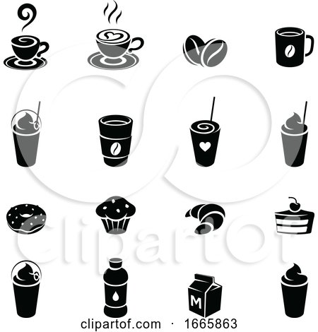 Black and White Coffee Icons by cidepix