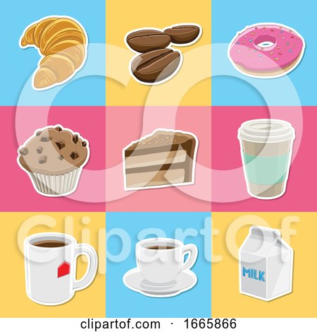 Coffee and Dessert Icons Posters, Art Prints
