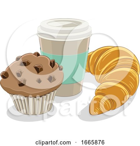 Take out Coffee Cup Croissant and Muffin by cidepix