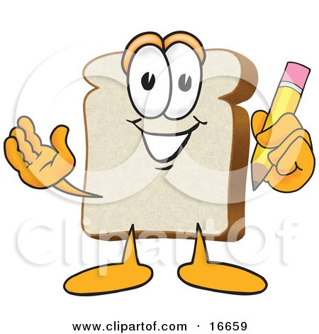 Clipart Picture of a Slice of White Bread Food Mascot Cartoon Character Holding a Yellow Pencil With an Eraser by Toons4Biz