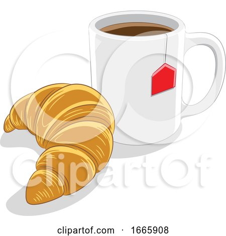 Coffee Mug and Croissant Posters, Art Prints