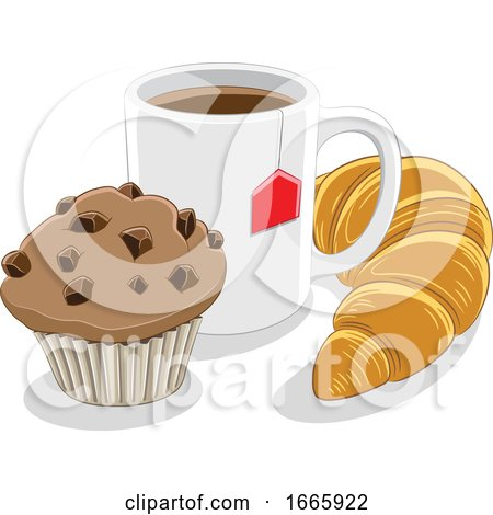 Coffee Mug Croissant and Muffin Posters, Art Prints