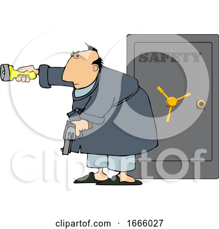 Cartoon Man Holding a Gun and Flashlight in Front of His Safe Posters, Art Prints