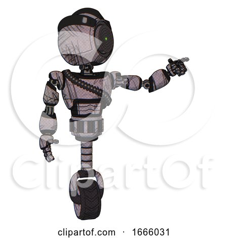 Mech Containing Green Dot Eye Corn Row Plastic Hair and Light Chest Exoshielding and Rubber Chain Sash and Unicycle Wheel. Dark Sketchy. Pointing Left or Pushing a Button.. by Leo Blanchette