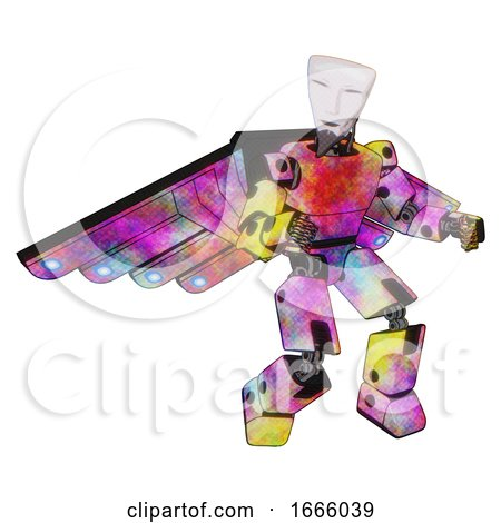 Mech Containing Humanoid Face Mask and Light Chest Exoshielding and Prototype Exoplate Chest and Cherub Wings Design and Prototype Exoplate Legs. Plasma Burst. Fight or Defense Pose.. by Leo Blanchette