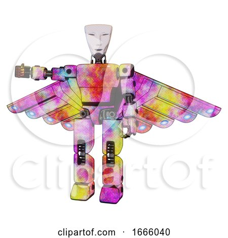 Mech Containing Humanoid Face Mask and Light Chest Exoshielding and Prototype Exoplate Chest and Cherub Wings Design and Prototype Exoplate Legs. Plasma Burst. Arm out Holding Invisible Object.. by Leo Blanchette