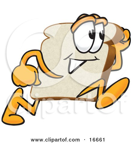 Clipart Picture of a Slice of White Bread Food Mascot Cartoon Character Running Fast by Toons4Biz