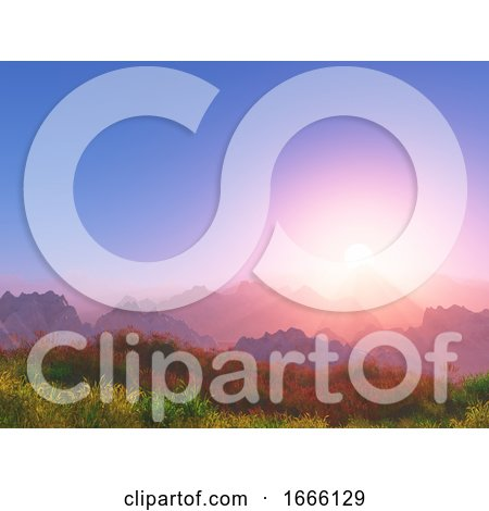 3D Sunset Landscape with Mountains in Background by KJ Pargeter