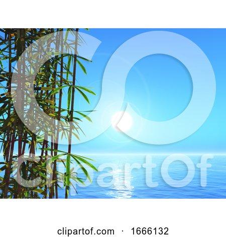 3D Bamboo Against an Ocean Landscape by KJ Pargeter