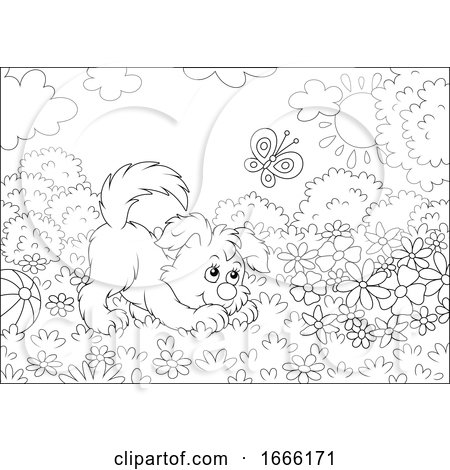 Black and White Playful Puppy Dog Posters, Art Prints