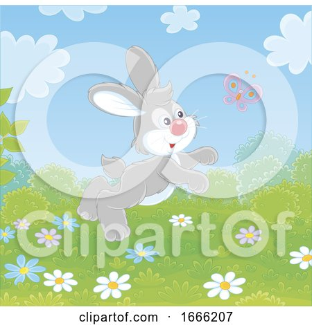 Bunny Rabbit Chasing a Butterfly by Alex Bannykh